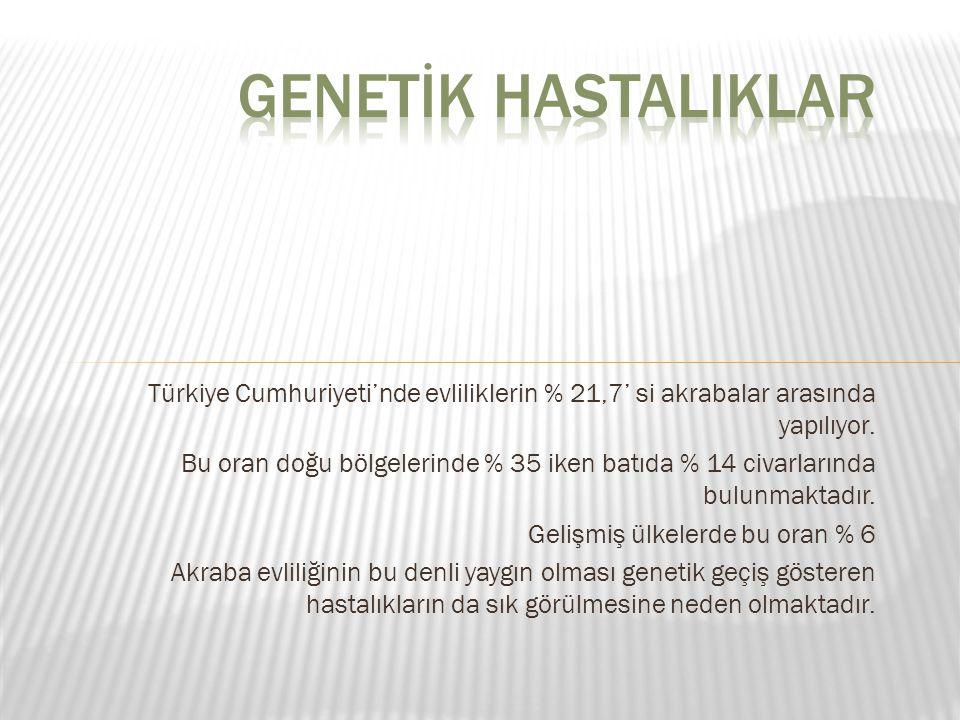 GENETİK HASTALIKLAR Türkiye Cumhuriyeti'nde evliliklerin % 21,7' si akrabalar arasında yapılıyor.