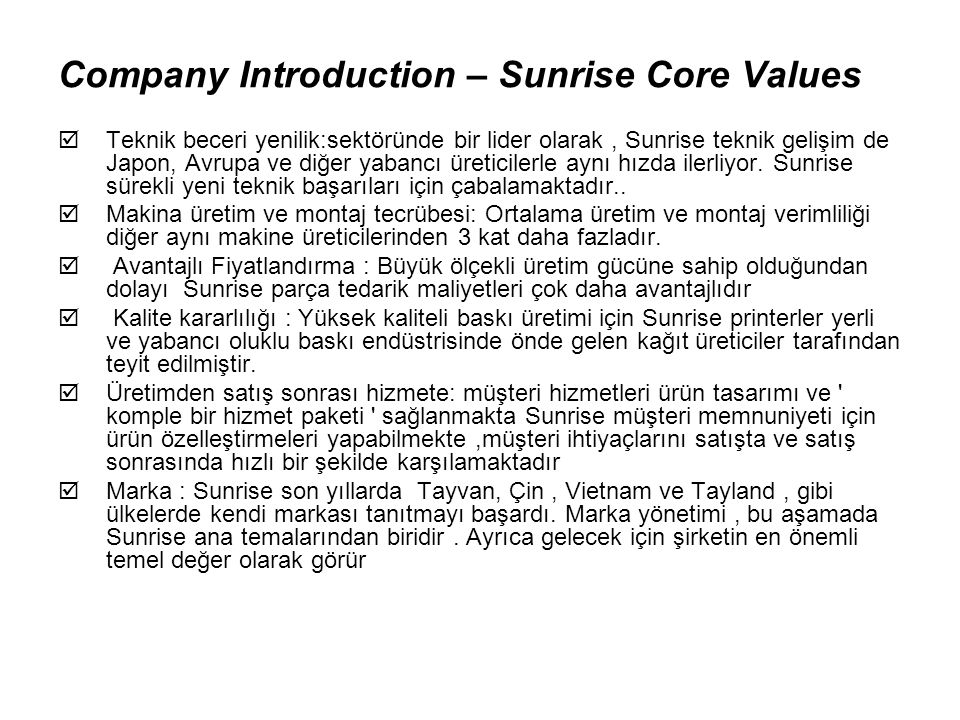Company Introduction – Sunrise Core Values