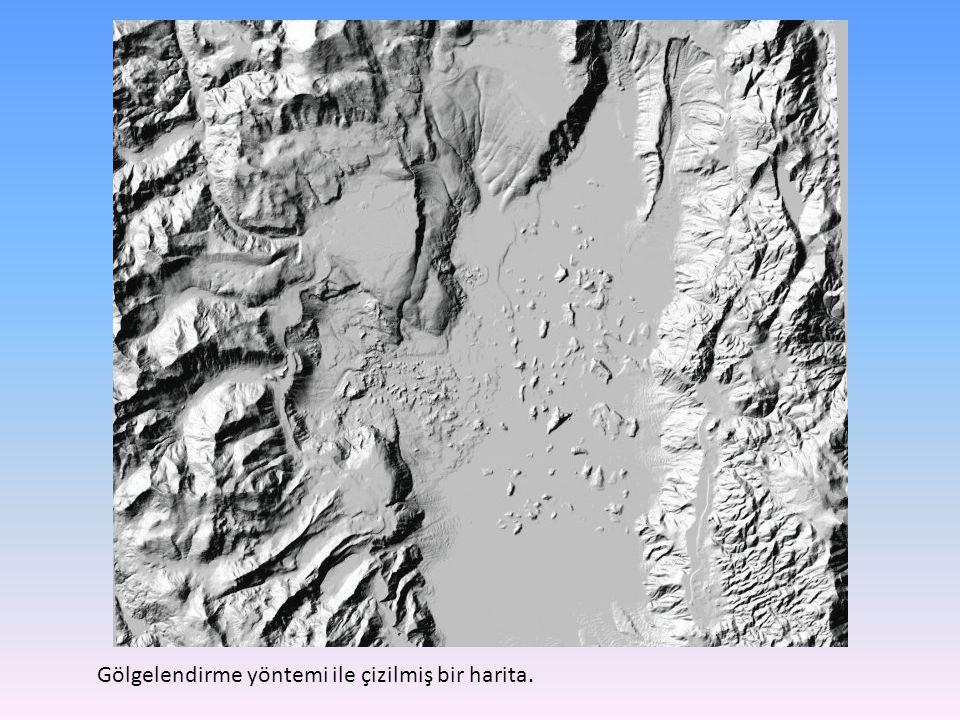 Gölgelendirme yöntemi ile çizilmiş bir harita.