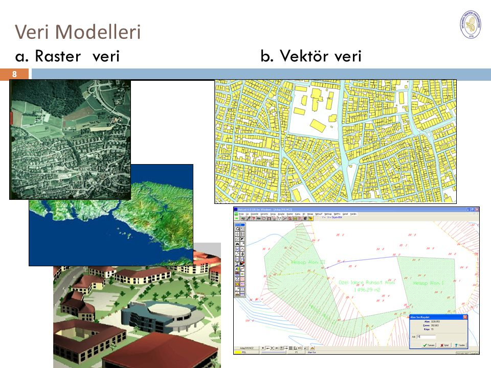 Veri Modelleri a. Raster veri b. Vektör veri