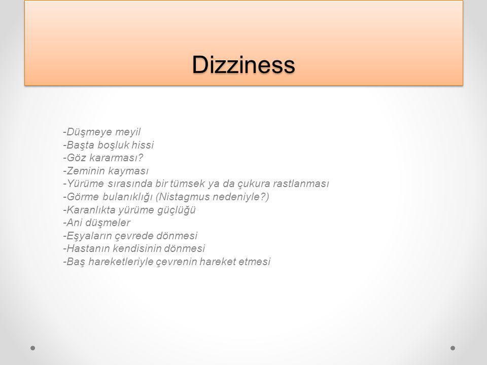Dizziness -Düşmeye meyil -Başta boşluk hissi -Göz kararması