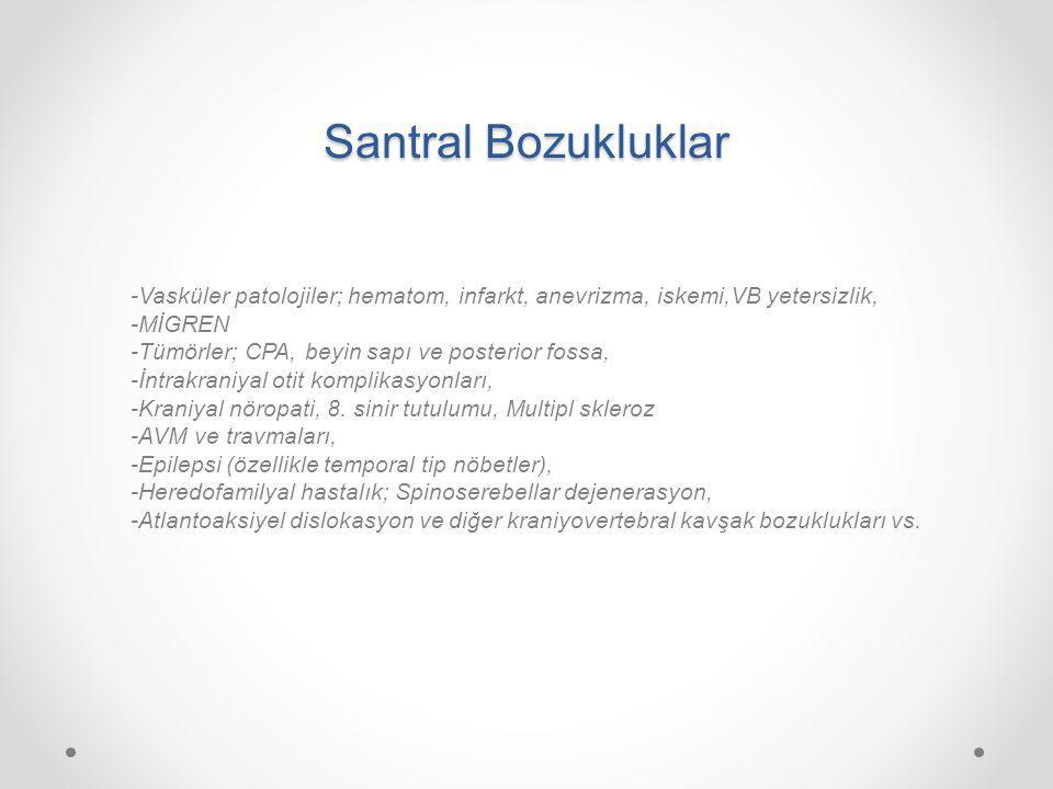 Santral Bozukluklar -Vasküler patolojiler; hematom, infarkt, anevrizma, iskemi,VB yetersizlik, -MİGREN.