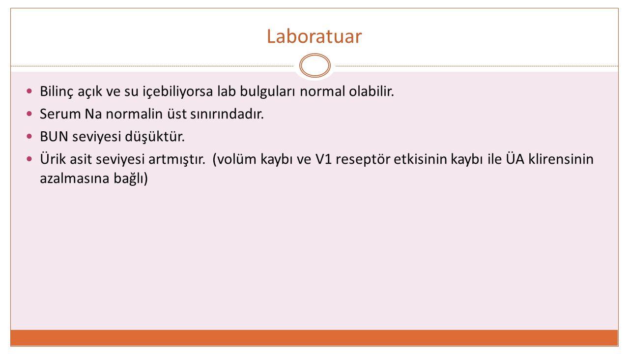 Laboratuar Bilinç açık ve su içebiliyorsa lab bulguları normal olabilir. Serum Na normalin üst sınırındadır.
