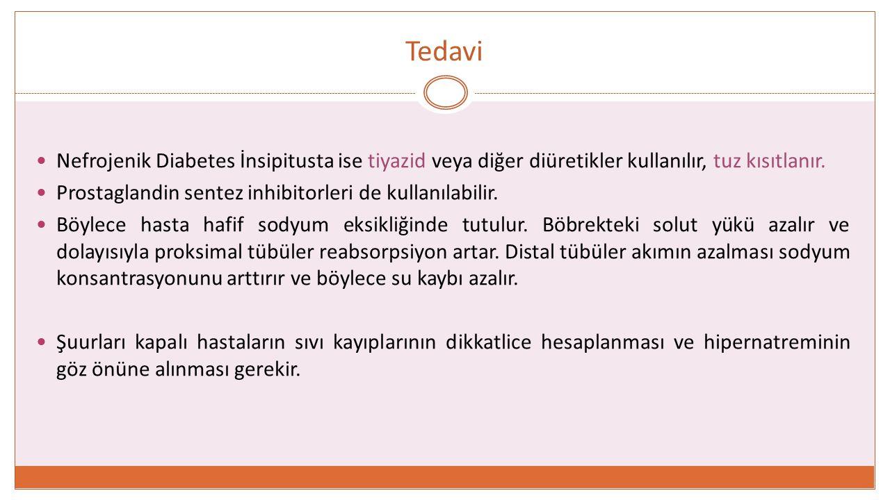 Tedavi Nefrojenik Diabetes İnsipitusta ise tiyazid veya diğer diüretikler kullanılır, tuz kısıtlanır.