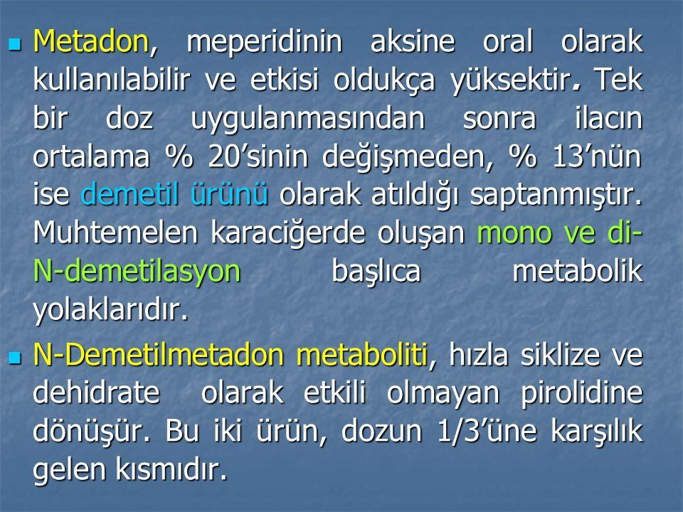 Metadon, meperidinin aksine oral olarak kullanılabilir ve etkisi oldukça yüksektir. Tek bir doz uygulanmasından sonra ilacın ortalama % 20'sinin değişmeden, % 13'nün ise demetil ürünü olarak atıldığı saptanmıştır. Muhtemelen karaciğerde oluşan mono ve di-N-demetilasyon başlıca metabolik yolaklarıdır.