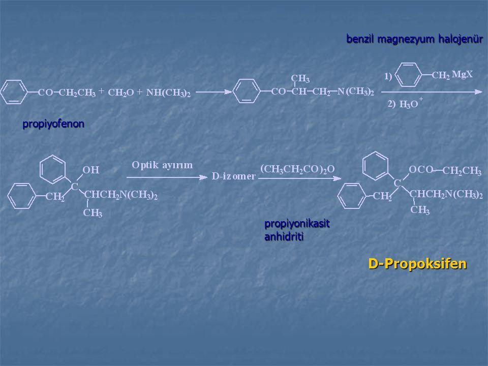 D-Propoksifen benzil magnezyum halojenür propiyofenon propiyonikasit