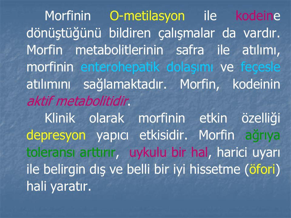 Morfinin O-metilasyon ile kodeine dönüştüğünü bildiren çalışmalar da vardır. Morfin metabolitlerinin safra ile atılımı, morfinin enterohepatik dolaşımı ve feçesle atılımını sağlamaktadır. Morfin, kodeinin aktif metabolitidir.
