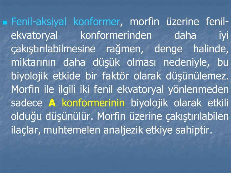 Fenil-aksiyal konformer, morfin üzerine fenil-ekvatoryal konformerinden daha iyi çakıştırılabilmesine rağmen, denge halinde, miktarının daha düşük olması nedeniyle, bu biyolojik etkide bir faktör olarak düşünülemez.