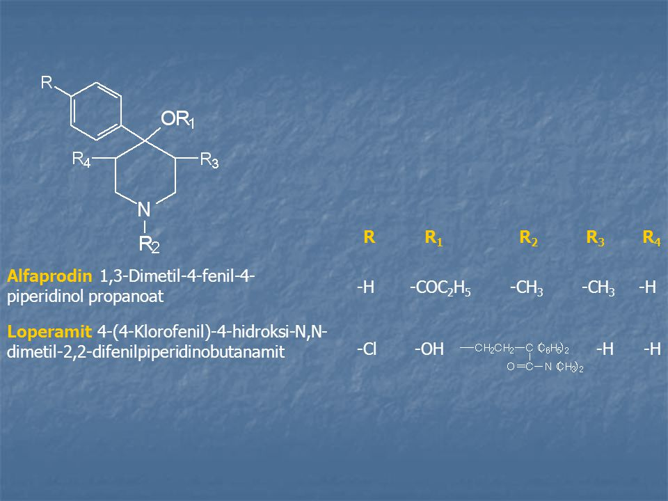 R R1. R2. R3. R4. Alfaprodin 1,3-Dimetil-4-fenil-4-piperidinol propanoat. -H. -COC2H5. -CH3.