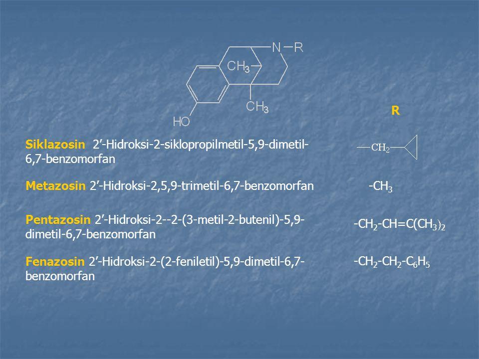R Siklazosin 2'-Hidroksi-2-siklopropilmetil-5,9-dimetil-6,7-benzomorfan. Metazosin 2'-Hidroksi-2,5,9-trimetil-6,7-benzomorfan.