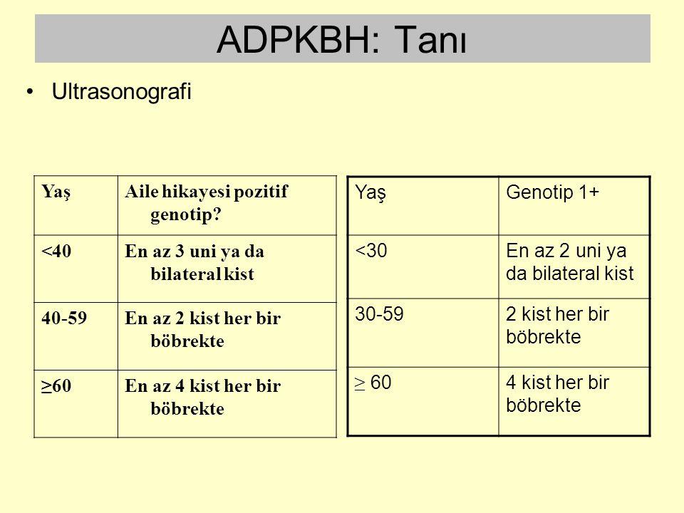 ADPKBH: Tanı Ultrasonografi Yaş Aile hikayesi pozitif genotip <40