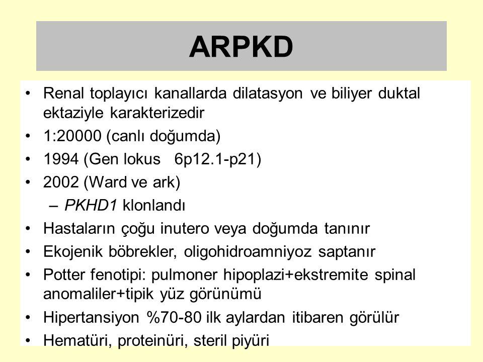 ARPKD Renal toplayıcı kanallarda dilatasyon ve biliyer duktal ektaziyle karakterizedir. 1:20000 (canlı doğumda)