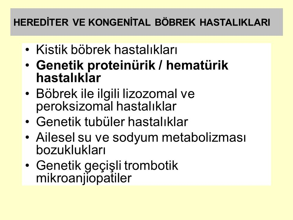 Kistik böbrek hastalıkları Genetik proteinürik / hematürik hastalıklar