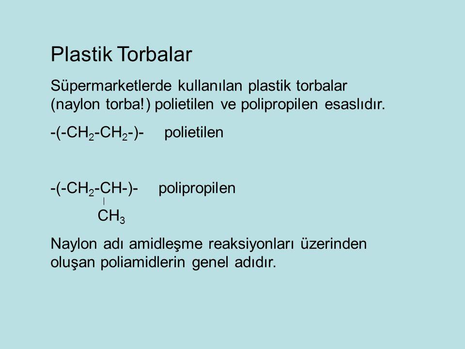 Plastik Torbalar Süpermarketlerde kullanılan plastik torbalar (naylon torba!) polietilen ve polipropilen esaslıdır.