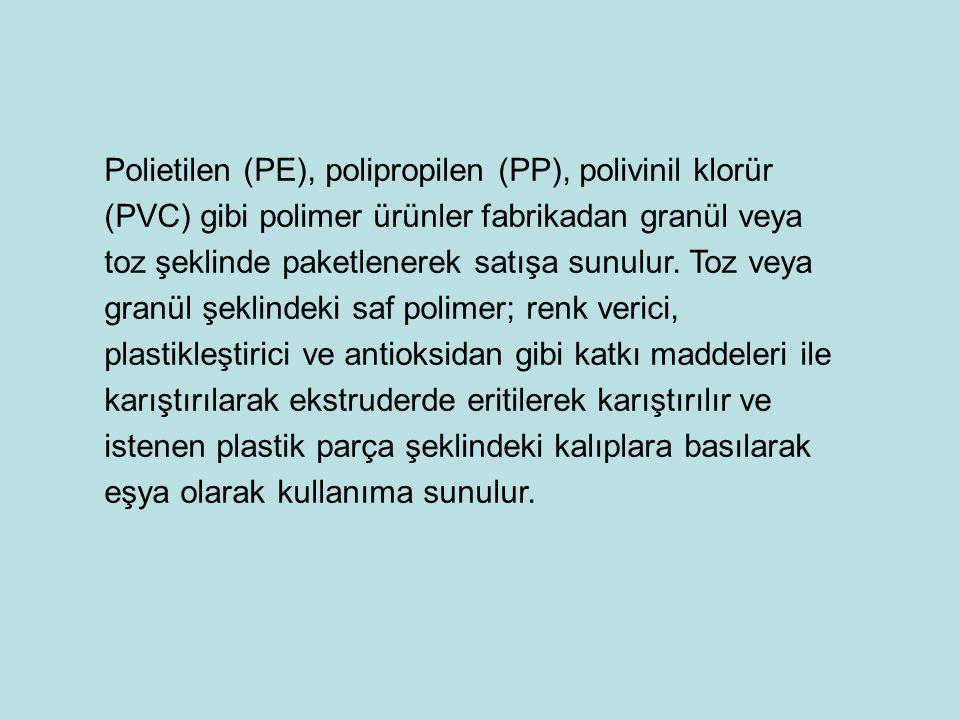 Polietilen (PE), polipropilen (PP), polivinil klorür (PVC) gibi polimer ürünler fabrikadan granül veya toz şeklinde paketlenerek satışa sunulur.