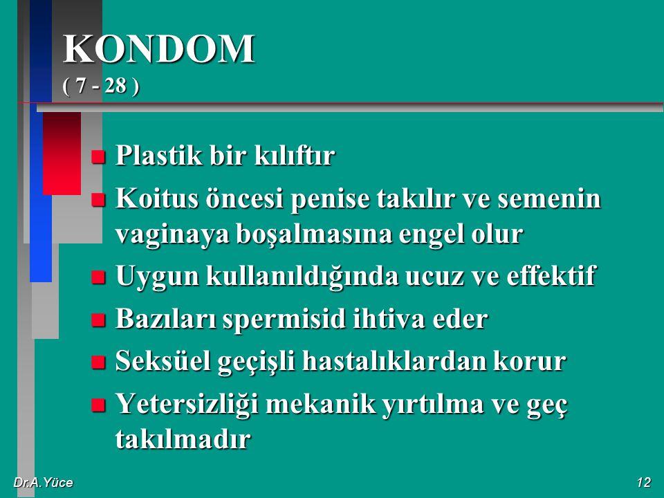 KONDOM ( 7 - 28 ) Plastik bir kılıftır