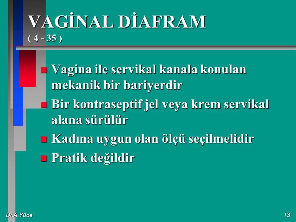 VAGİNAL DİAFRAM ( 4 - 35 ) Vagina ile servikal kanala konulan mekanik bir bariyerdir. Bir kontraseptif jel veya krem servikal alana sürülür.