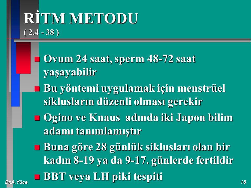 RİTM METODU ( 2.4 - 38 ) Ovum 24 saat, sperm 48-72 saat yaşayabilir