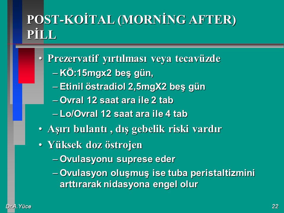POST-KOİTAL (MORNİNG AFTER) PİLL
