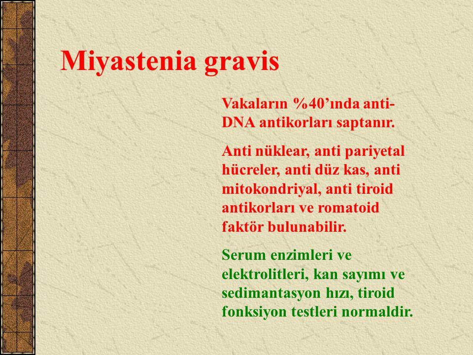 Miyastenia gravis Vakaların %40'ında anti-DNA antikorları saptanır.