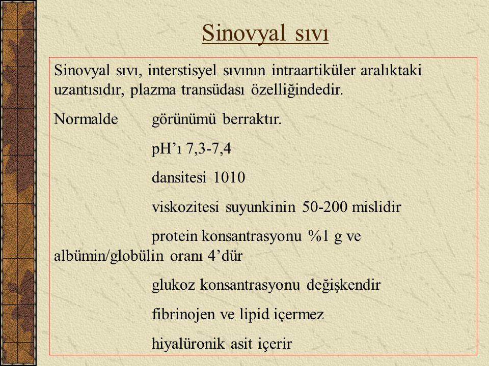 Sinovyal sıvı Sinovyal sıvı, interstisyel sıvının intraartiküler aralıktaki uzantısıdır, plazma transüdası özelliğindedir.