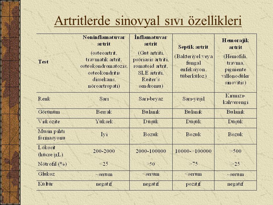 Artritlerde sinovyal sıvı özellikleri