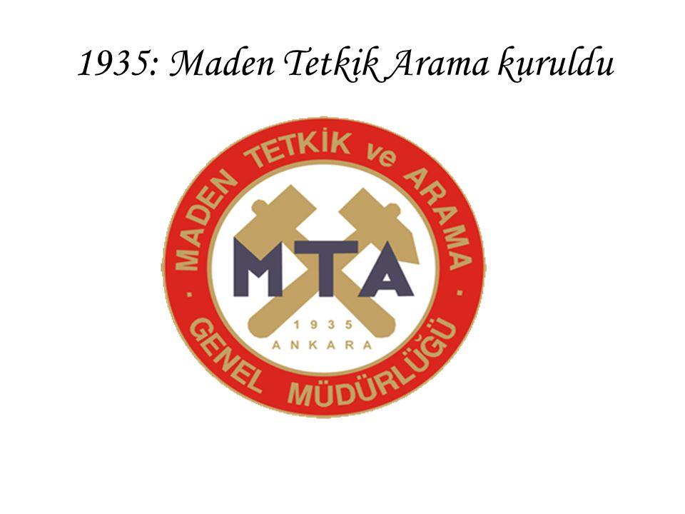 1935: Maden Tetkik Arama kuruldu