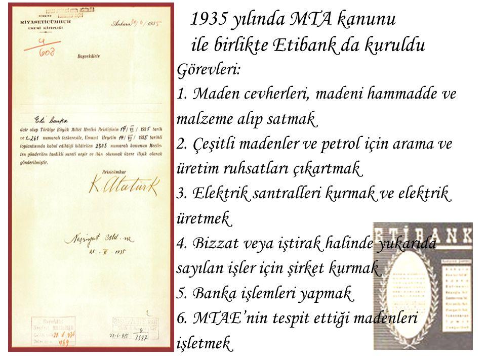 1935 yılında MTA kanunu ile birlikte Etibank da kuruldu