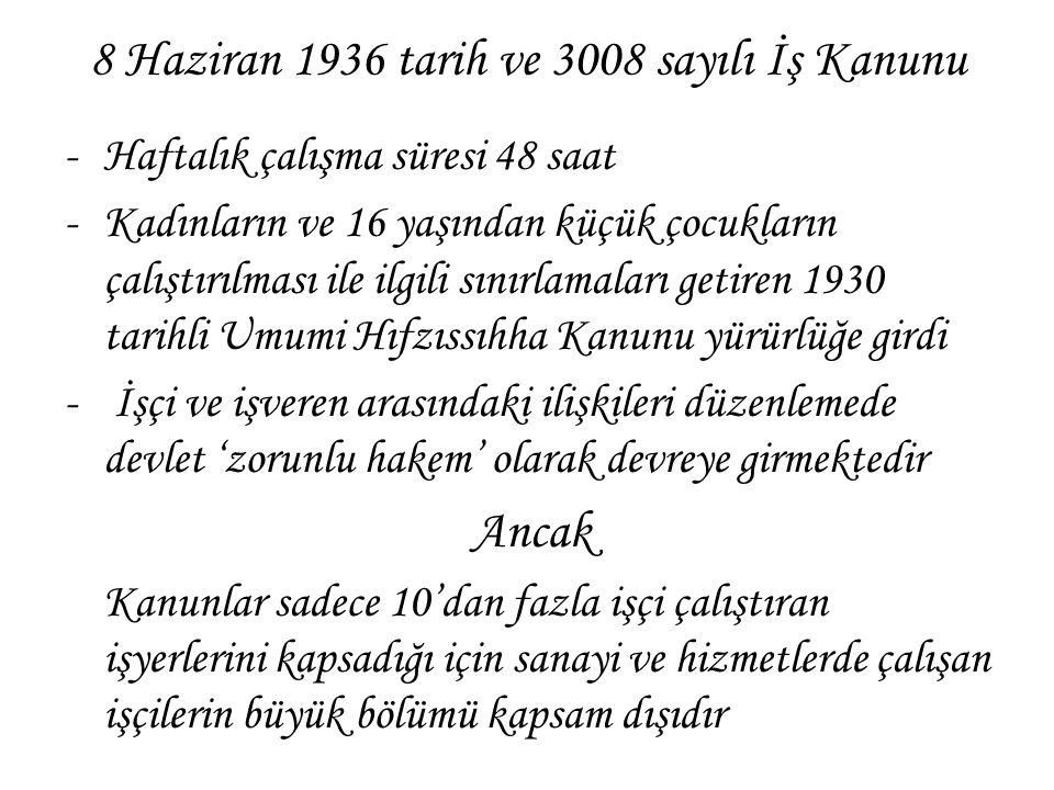 8 Haziran 1936 tarih ve 3008 sayılı İş Kanunu