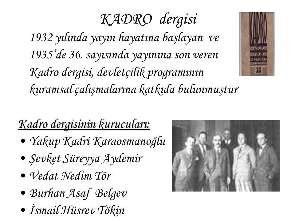 KADRO dergisi 1932 yılında yayın hayatına başlayan ve