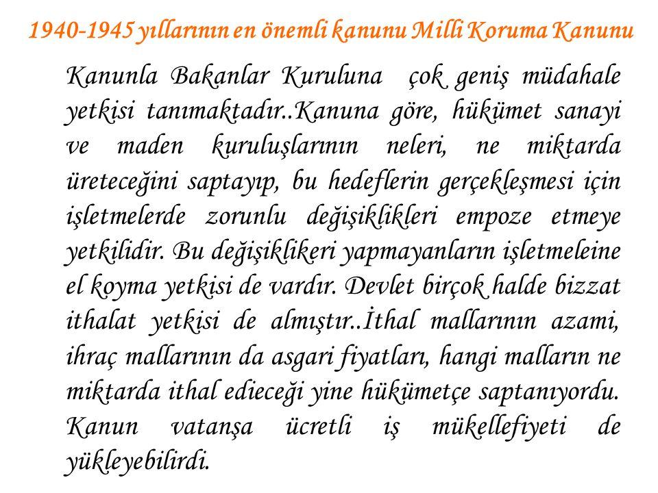 1940-1945 yıllarının en önemli kanunu Milli Koruma Kanunu