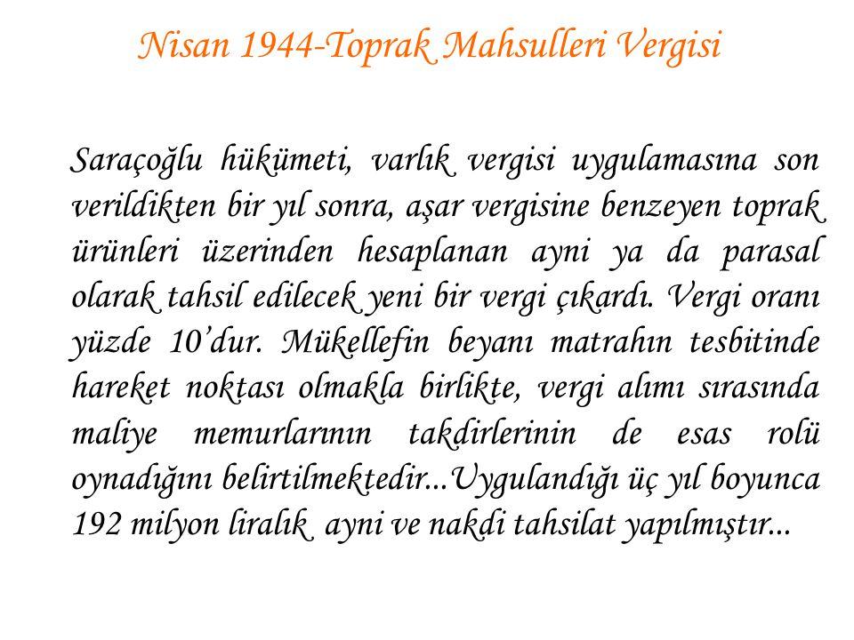 Nisan 1944-Toprak Mahsulleri Vergisi