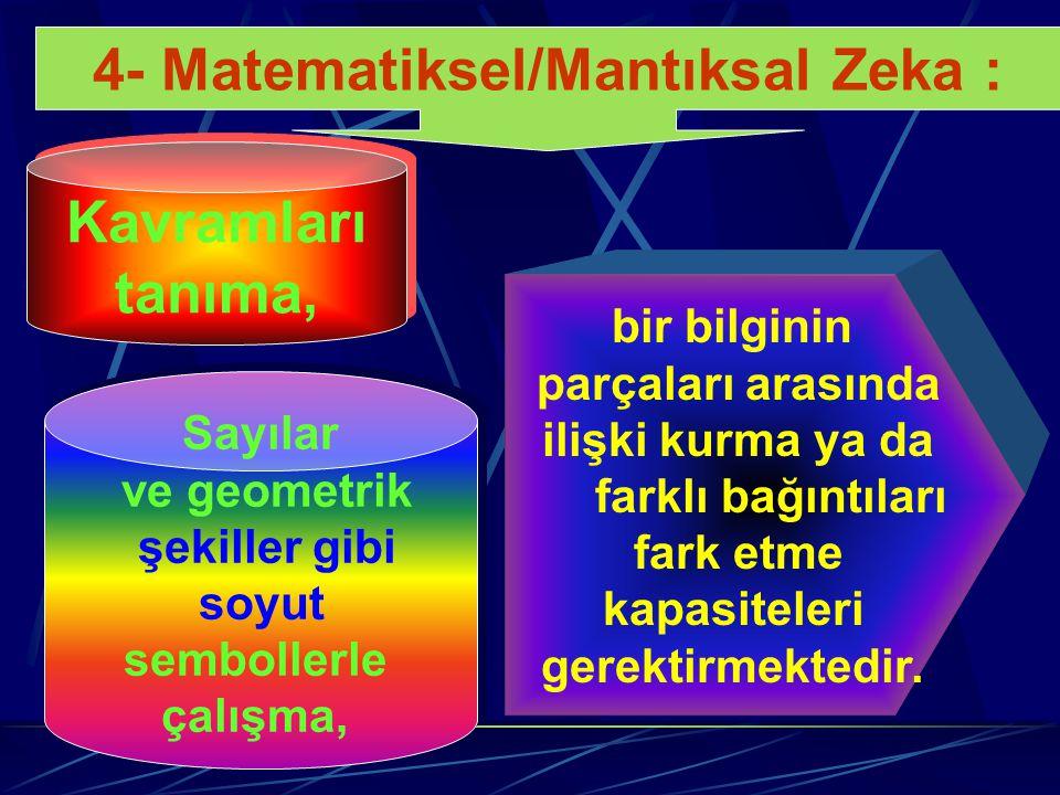 4- Matematiksel/Mantıksal Zeka :