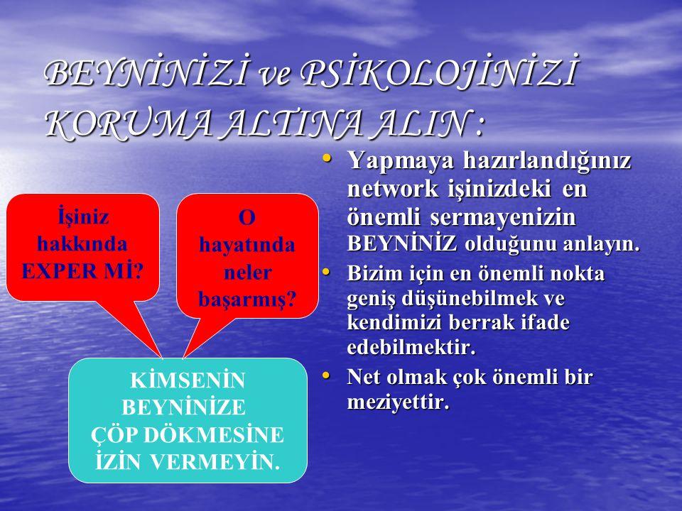 BEYNİNİZİ ve PSİKOLOJİNİZİ KORUMA ALTINA ALIN :