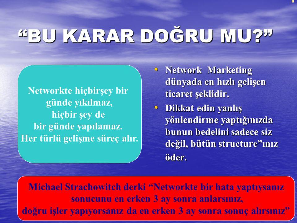 BU KARAR DOĞRU MU Network Marketing dünyada en hızlı gelişen ticaret şeklidir.