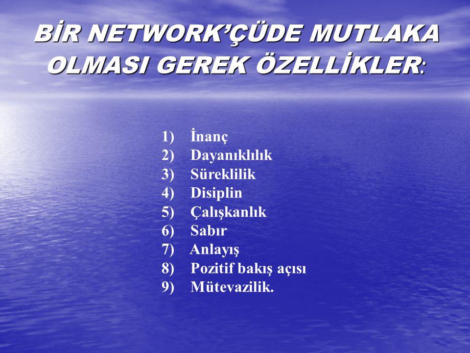 BİR NETWORK'ÇÜDE MUTLAKA OLMASI GEREK ÖZELLİKLER: