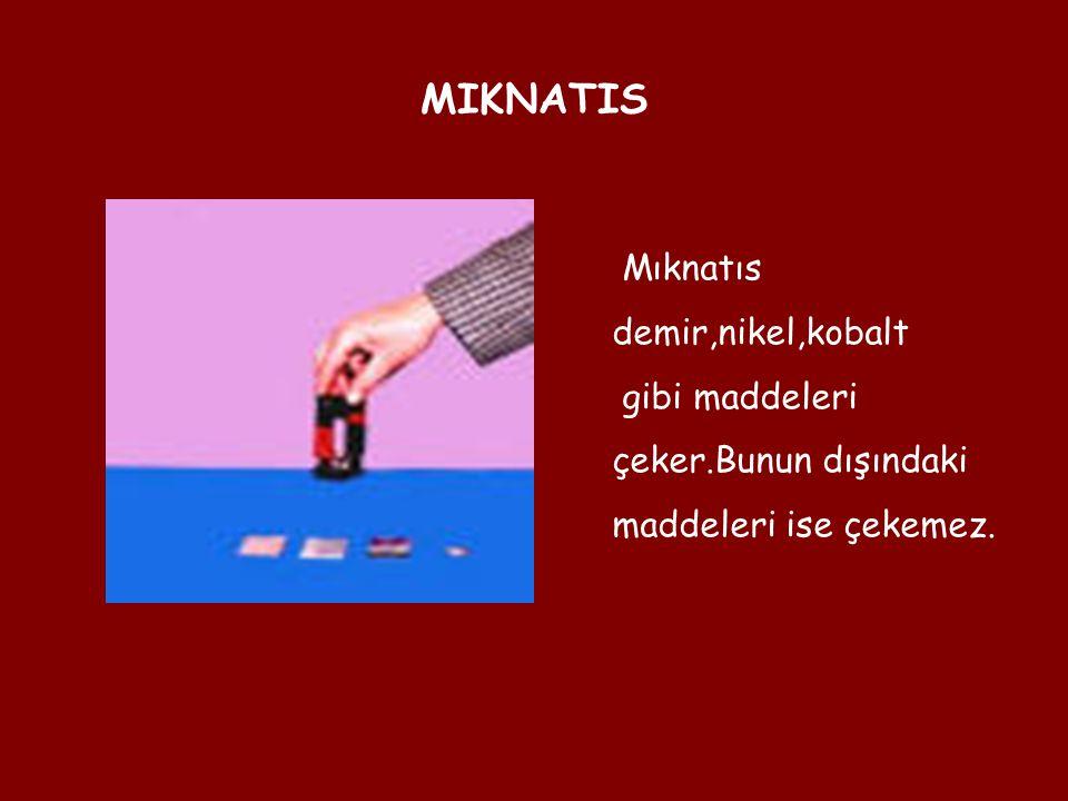 MIKNATIS Mıknatıs demir,nikel,kobalt gibi maddeleri