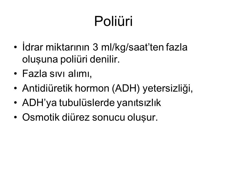 Poliüri İdrar miktarının 3 ml/kg/saat'ten fazla oluşuna poliüri denilir. Fazla sıvı alımı, Antidiüretik hormon (ADH) yetersizliği,