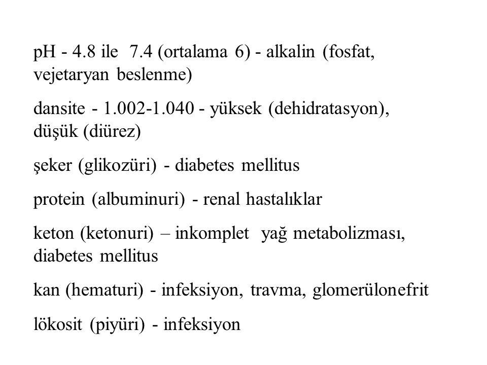 pH - 4.8 ile 7.4 (ortalama 6) - alkalin (fosfat, vejetaryan beslenme)