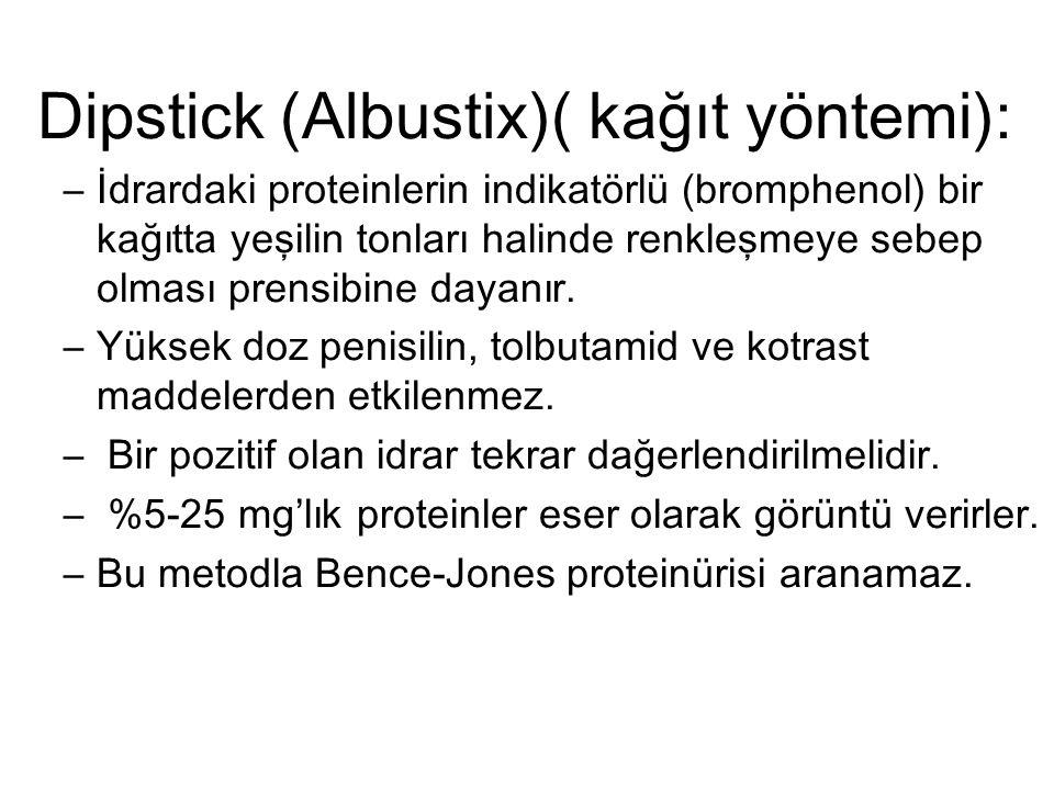 Dipstick (Albustix)( kağıt yöntemi):