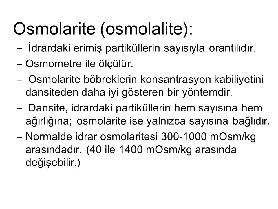 Osmolarite (osmolalite):
