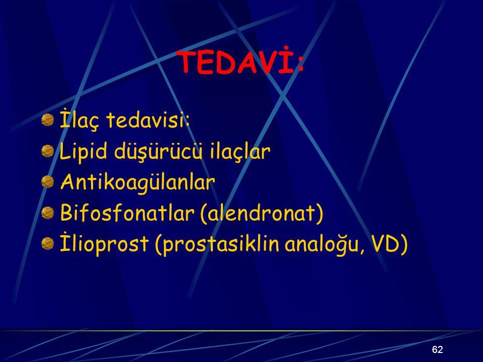 TEDAVİ: İlaç tedavisi: Lipid düşürücü ilaçlar Antikoagülanlar