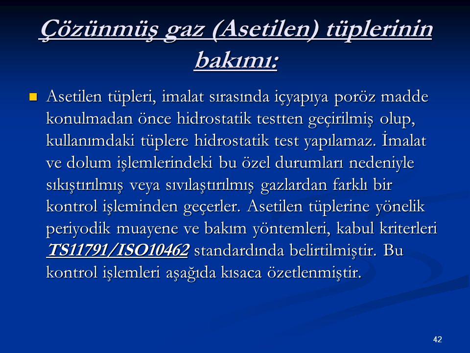 Çözünmüş gaz (Asetilen) tüplerinin bakımı: