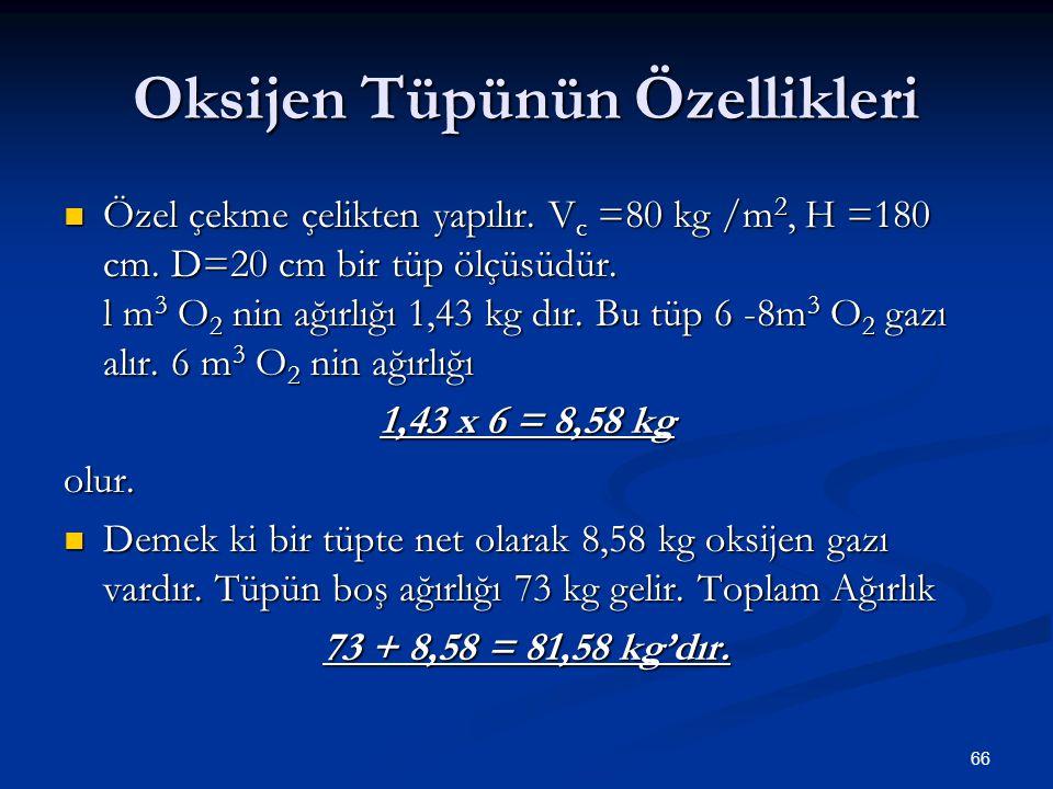 Oksijen Tüpünün Özellikleri