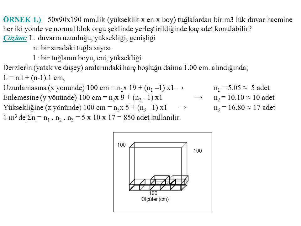 Çözüm: L: duvarın uzunluğu, yüksekliği, genişliği