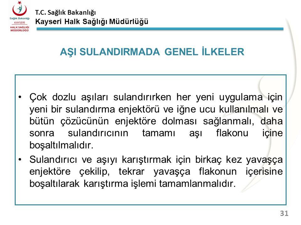AŞI SULANDIRMADA GENEL İLKELER