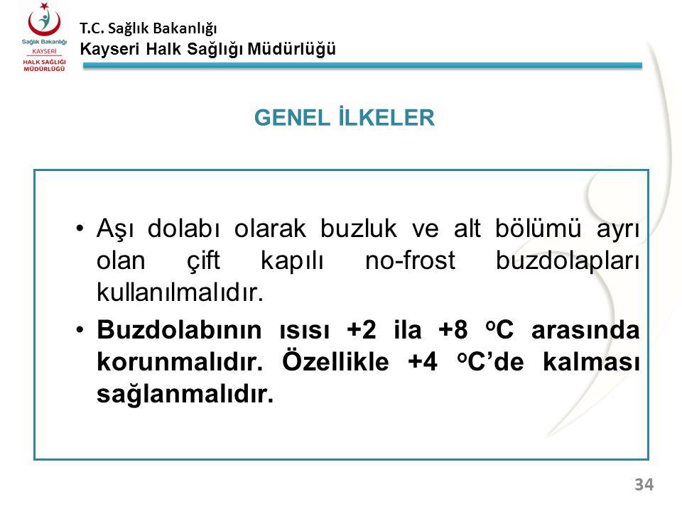 GENEL İLKELER Aşı dolabı olarak buzluk ve alt bölümü ayrı olan çift kapılı no-frost buzdolapları kullanılmalıdır.