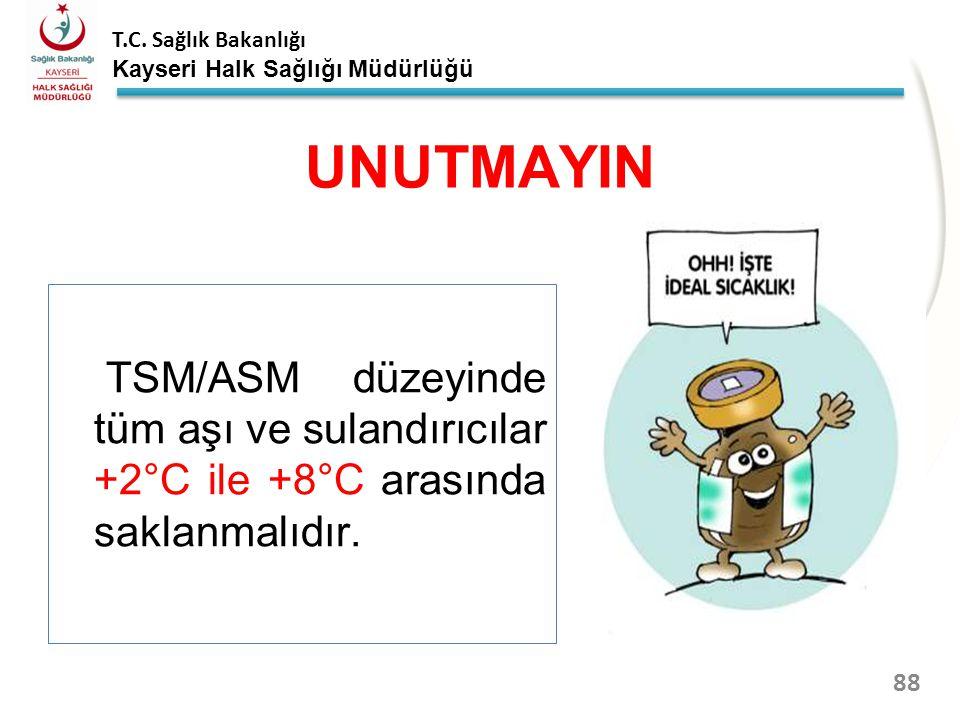 UNUTMAYIN TSM/ASM düzeyinde tüm aşı ve sulandırıcılar +2°C ile +8°C arasında saklanmalıdır.