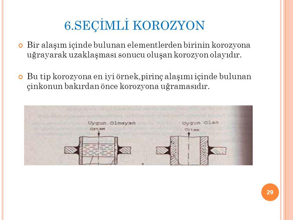 6.SEÇİMLİ KOROZYON Bir alaşım içinde bulunan elementlerden birinin korozyona uğrayarak uzaklaşması sonucu oluşan korozyon olayıdır.