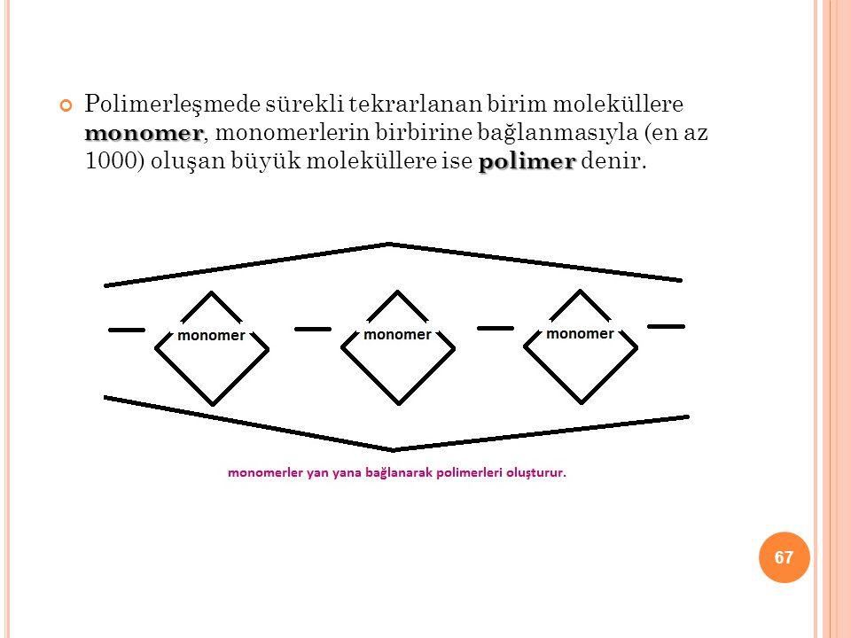 Polimerleşmede sürekli tekrarlanan birim moleküllere monomer, monomerlerin birbirine bağlanmasıyla (en az 1000) oluşan büyük moleküllere ise polimer denir.